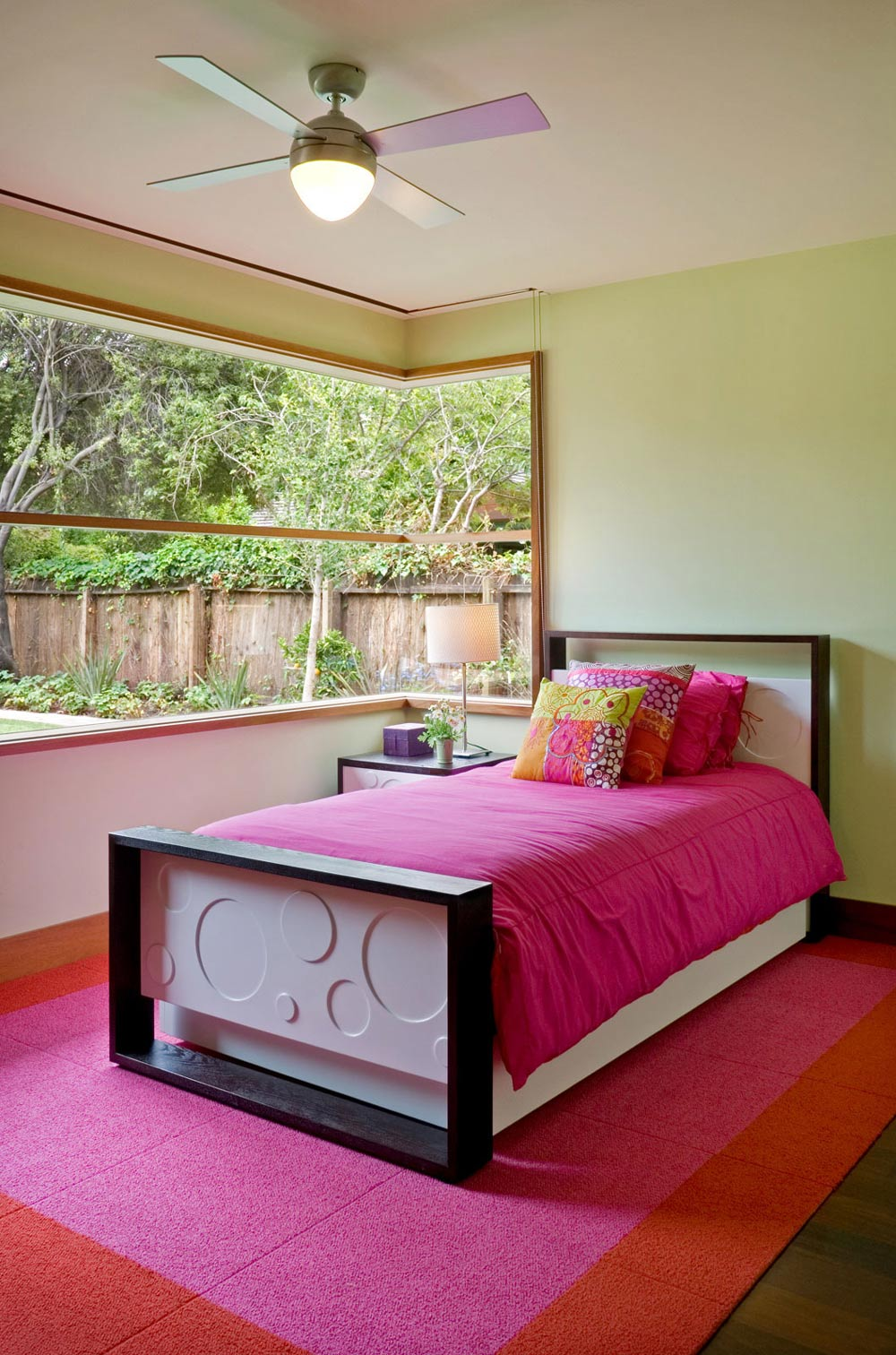Bedroom, Pink & Orange Rug, Wheeler Residence in Menlo Park, California by William Duff Architects