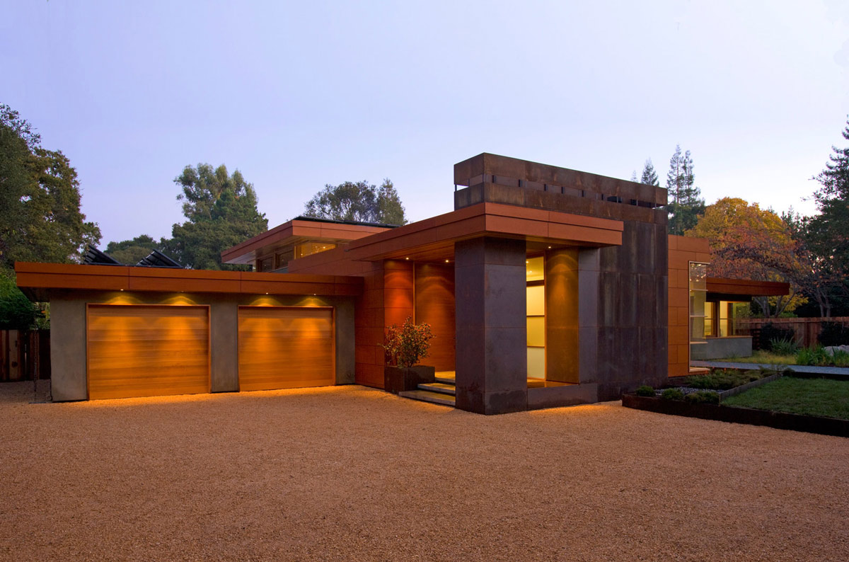 Garages, Lighting, Entrance, Wheeler Residence in Menlo Park, California by William Duff Architects