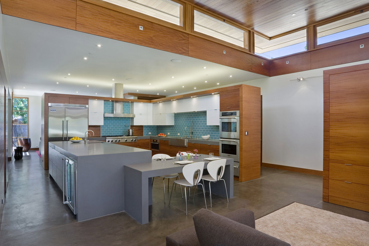 Kitchen Island, Breakfast Table, Wheeler Residence in Menlo Park, California by William Duff Architects