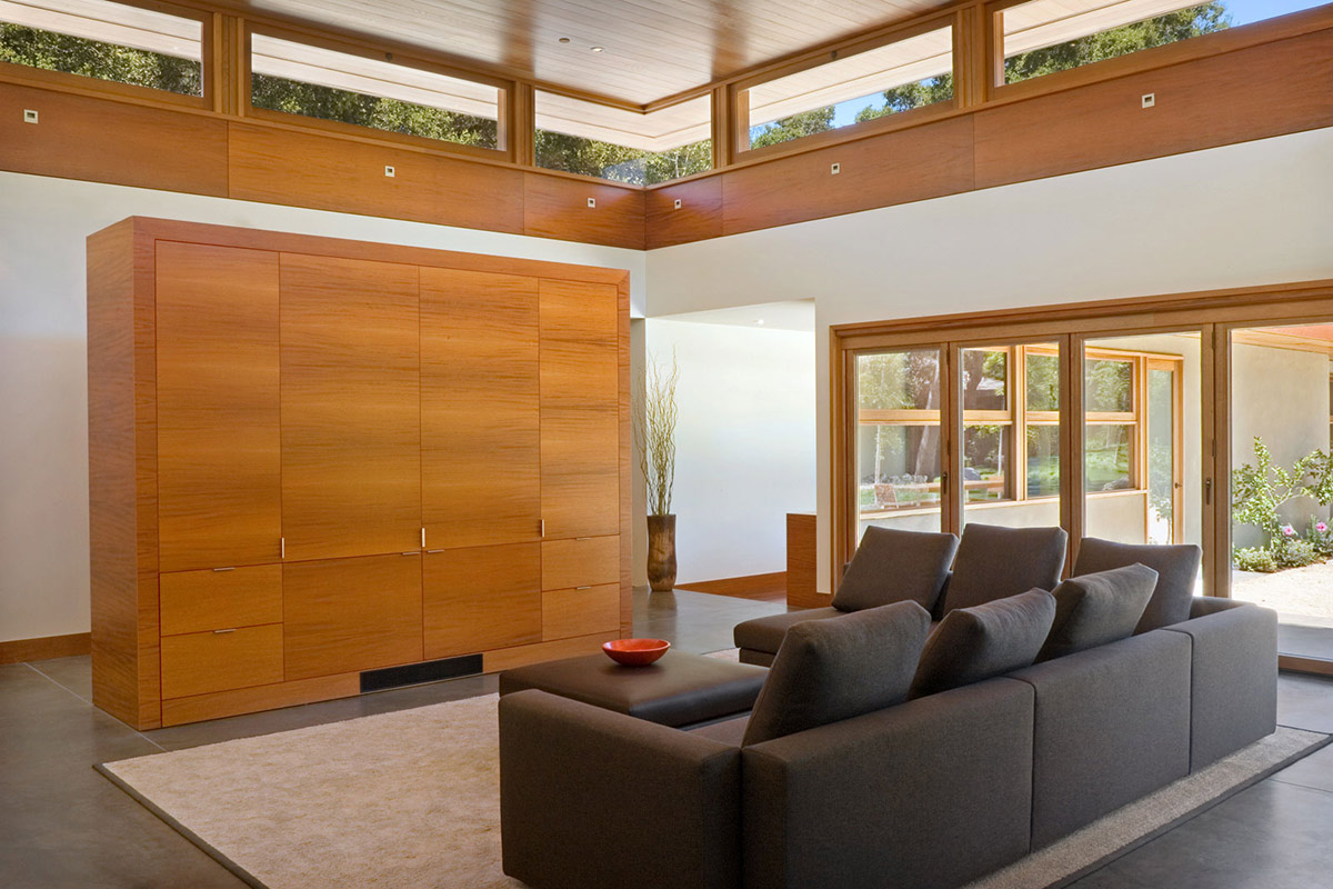 Living Space, Sofa, Wheeler Residence in Menlo Park, California by William Duff Architects