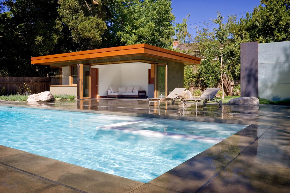 Outdoor Poll, Terrace, Wheeler Residence in Menlo Park, California by William Duff Architects