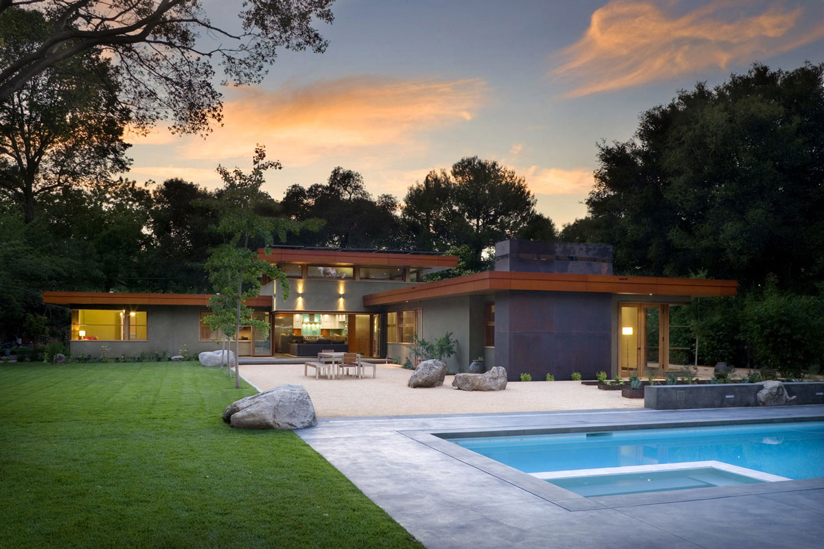 Terrace, Pool, Garden, Wheeler Residence in Menlo Park, California by William Duff Architects