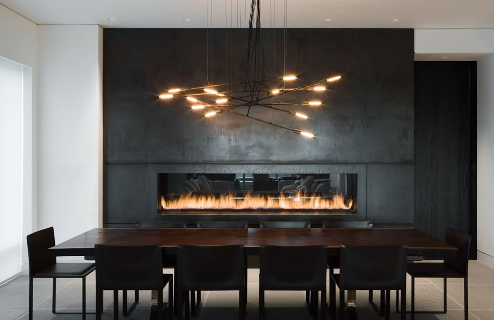 Dining Table Lighting Contemporary Fireplace Yorkville Penthouse I In Toronto Canada By Cecconi Simone