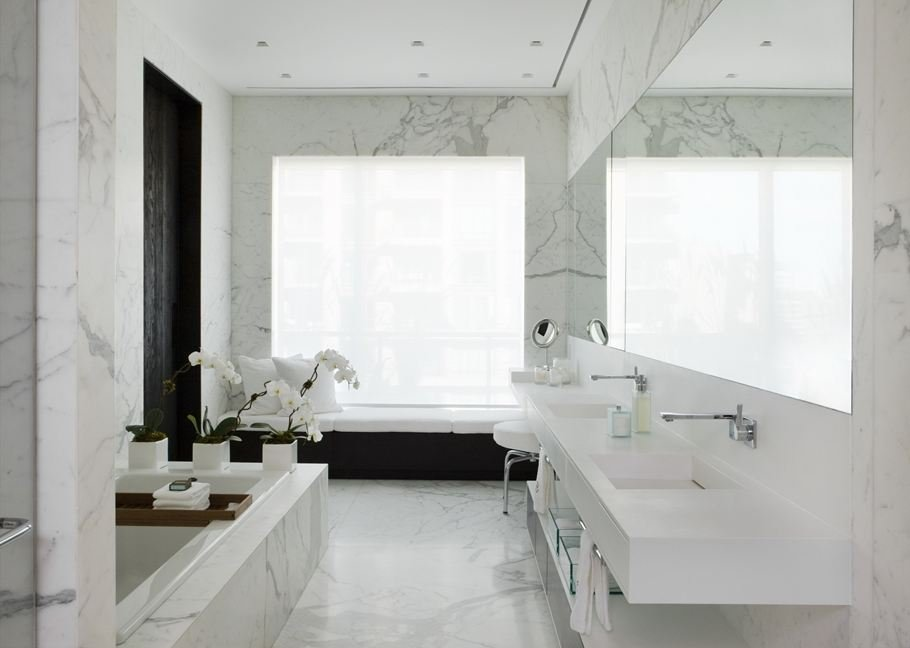 Marble Bathroom, Yorkville Penthouse I in Toronto, Canada by Cecconi Simone