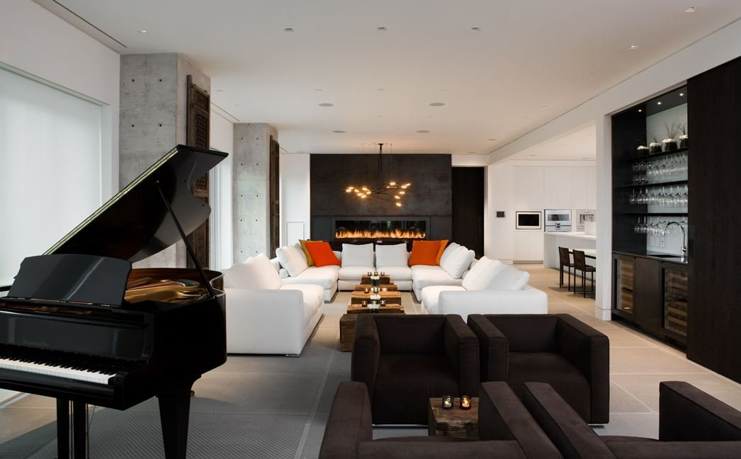 Living Space, Sofas, Piano, Bar, Yorkville Penthouse I in Toronto, Canada by Cecconi Simone