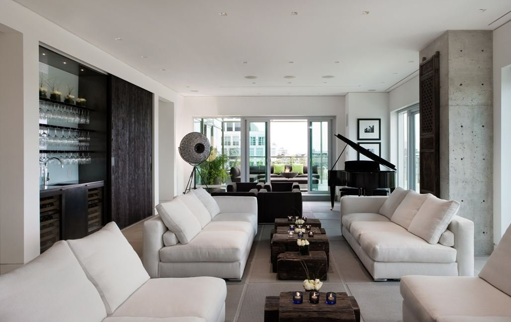 Sofas, Coffee Table, Exposed Concrete, Yorkville Penthouse I in Toronto, Canada by Cecconi Simone