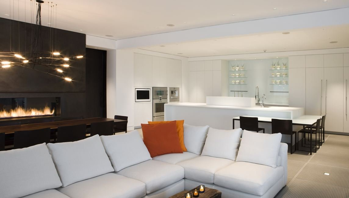 White Sofa, Kitchen, Fireplace, Yorkville Penthouse I in Toronto, Canada by Cecconi Simone