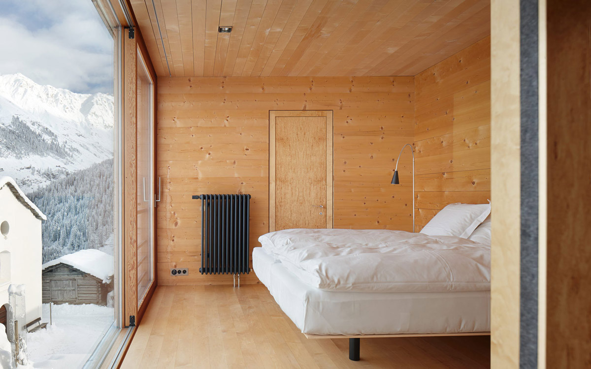 Bedroom, Patio Doors, Views, Zumthor Vacation Homes in Leis, Switzerland