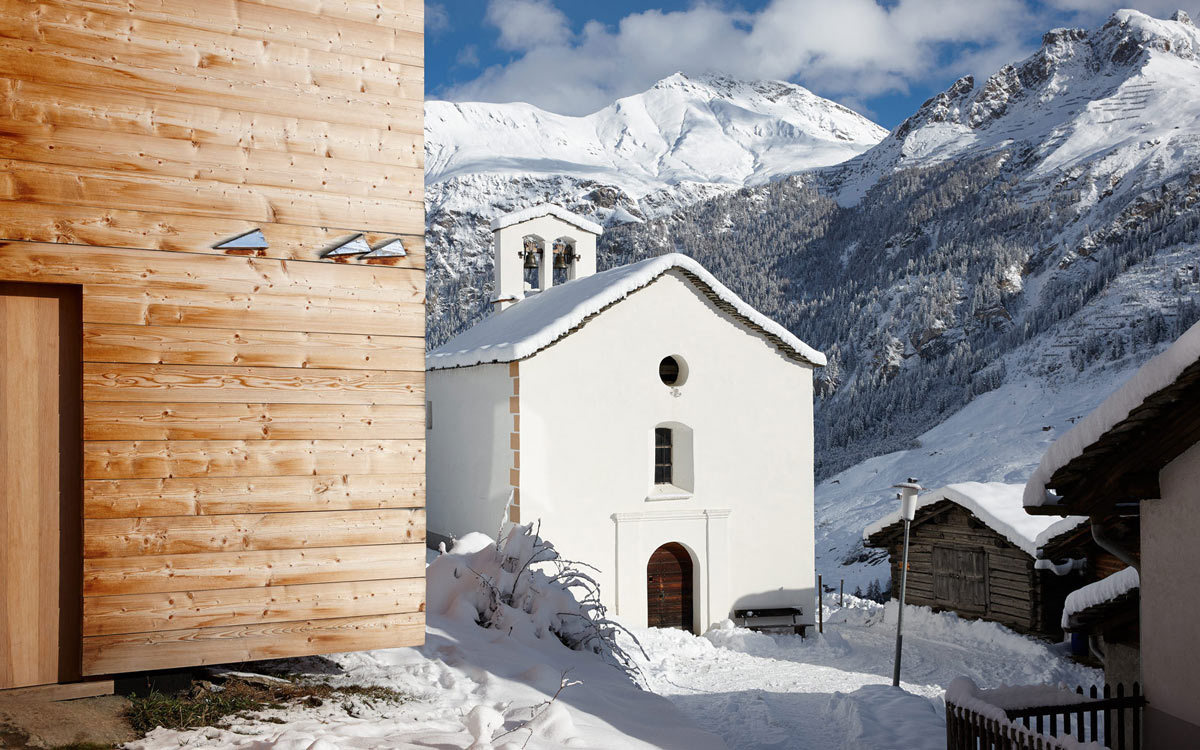 Church, Mountain Views, Zumthor Vacation Homes in Leis, Switzerland
