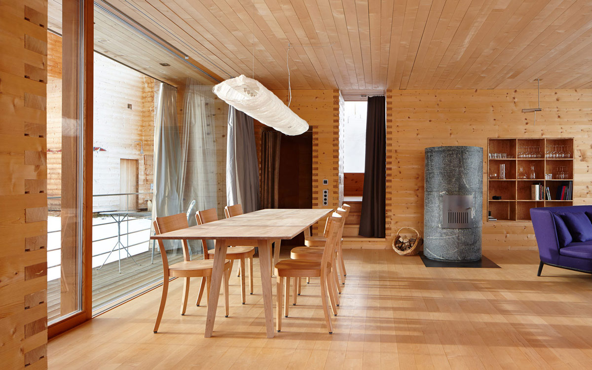 Dining Table, Contemporary Fireplace, Zumthor Vacation Homes in Leis, Switzerland