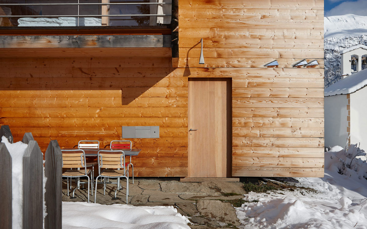 Wooden Front Door, Zumthor Vacation Homes in Leis, Switzerland