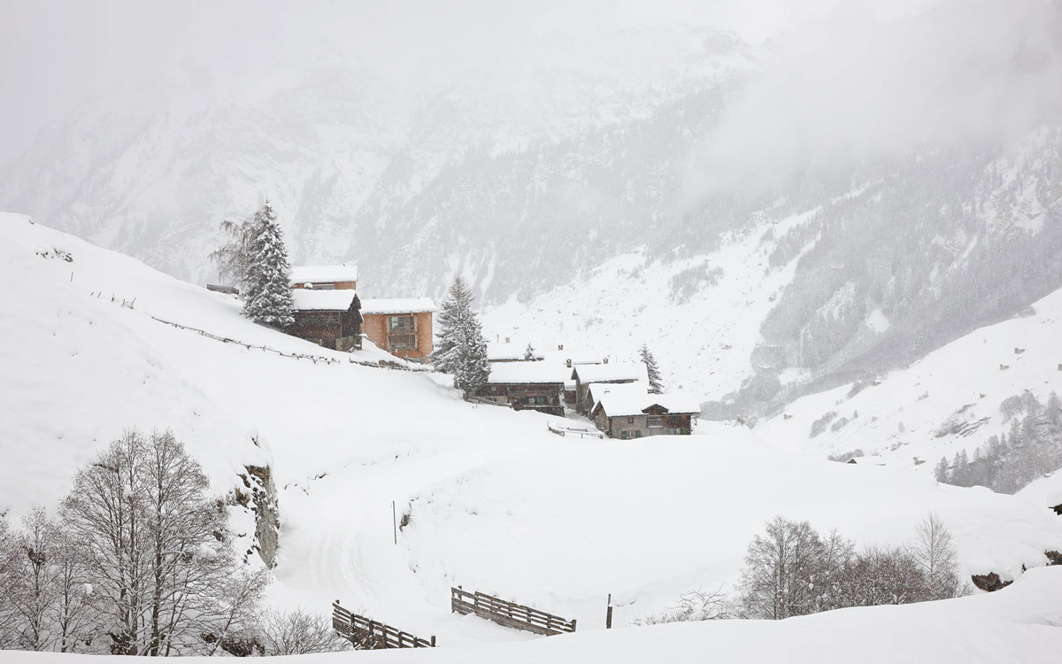 Snowing, Zumthor Vacation Homes in Leis, Switzerland