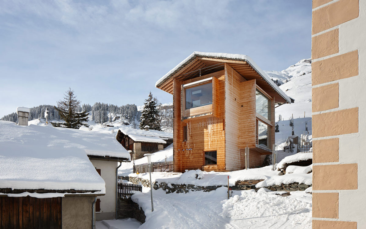 Timber Homes, Large Windows, Zumthor Vacation Homes in Leis, Switzerland