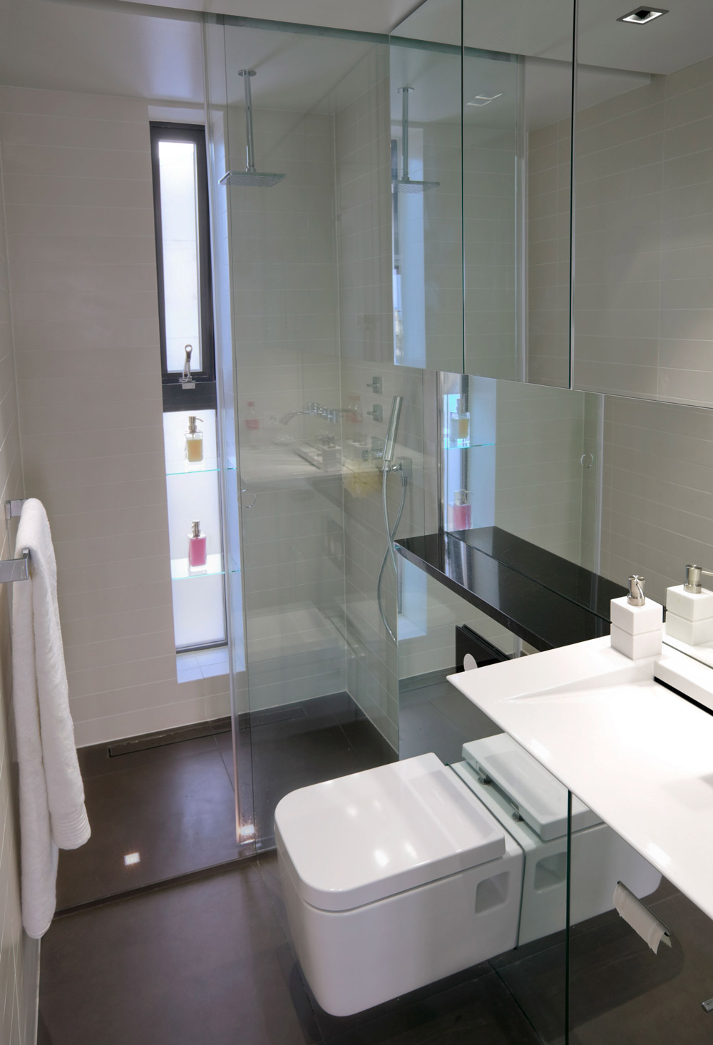 Bathroom, Glass Shower, Modern Apartment in Reykjavik, Iceland