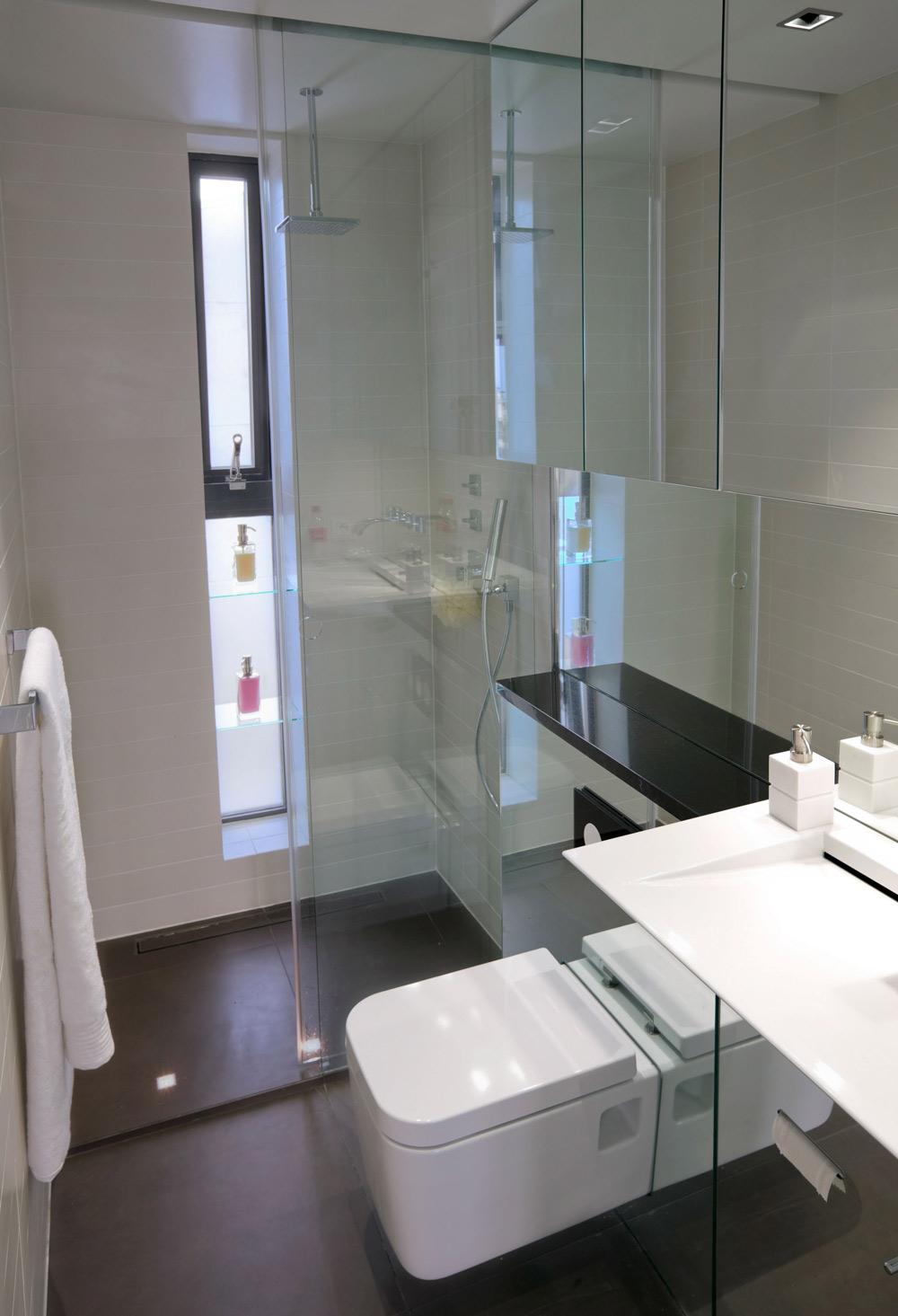 Bathroom, Glass Shower, Modern Apartment in Reykjavik, Iceland
