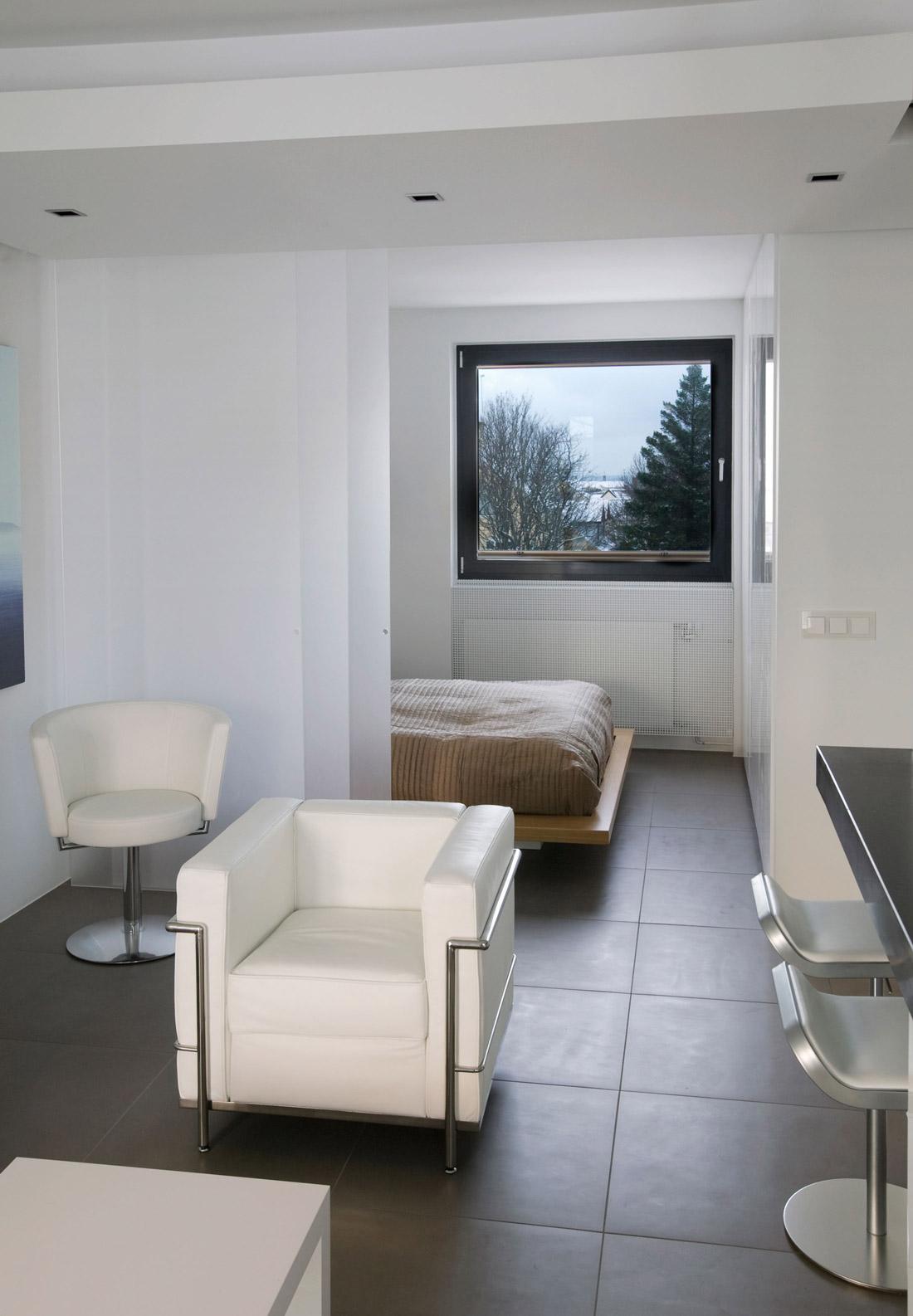 Bedroom, Living Space, Modern Apartment in Reykjavik, Iceland