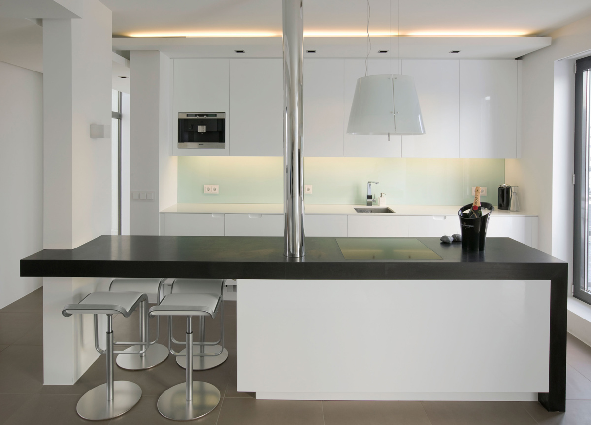 Black & White Kitchen, Island, Dining Bar, Modern Apartment in Reykjavik, Iceland