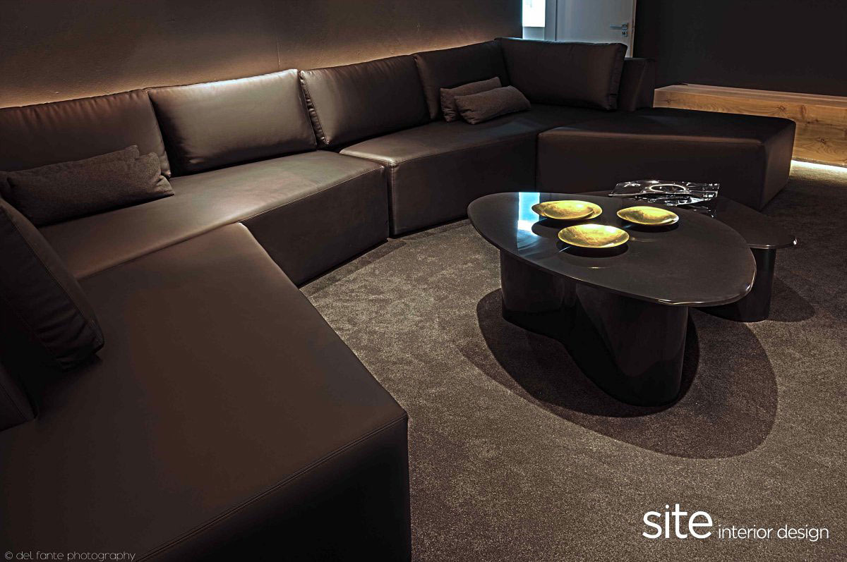 Dark Sofa, Coffee Table, Aupiais House in Camps Bay, South Africa