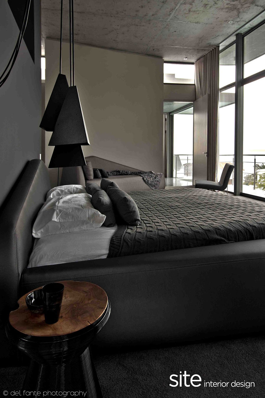 Grey Bedroom, Lighting, Aupiais House in Camps Bay, South Africa