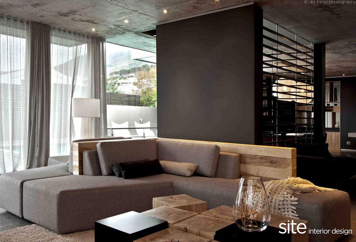 grey sofa aupiais house in camps bay south africa. Black Bedroom Furniture Sets. Home Design Ideas