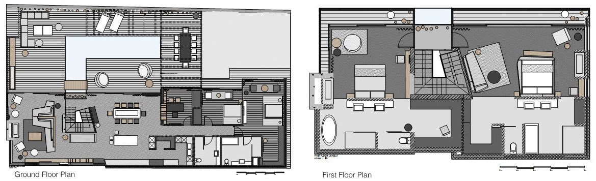 Ground & First Floor Plan, Aupiais House in Camps Bay, South Africa