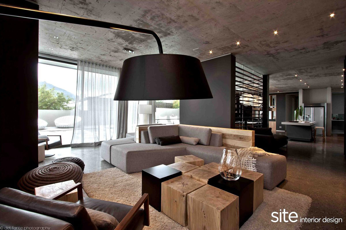 Sofa, Coffee Table, Lighting, Aupiais House in Camps Bay, South Africa