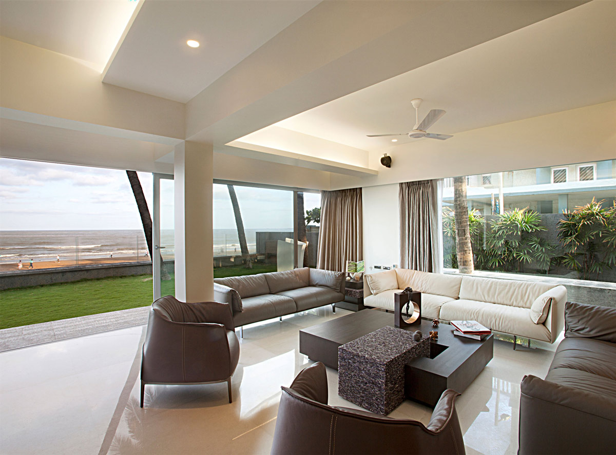 Coffee Table, Sofas, Ocean Views, Apartment by the Beach in Mumbai, India by ZZ Architects