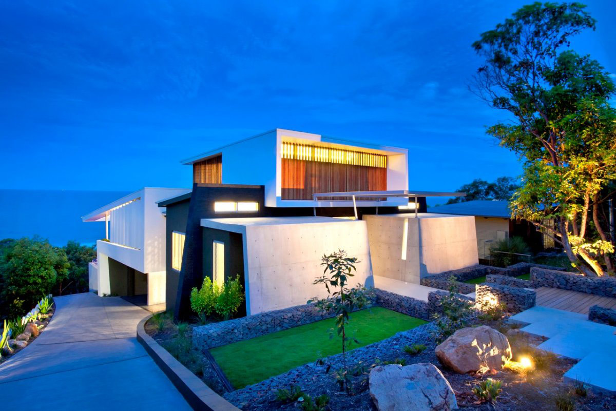 Dusk, Lighting, Garden, Coolum Bays Beach House in Queensland, Australia