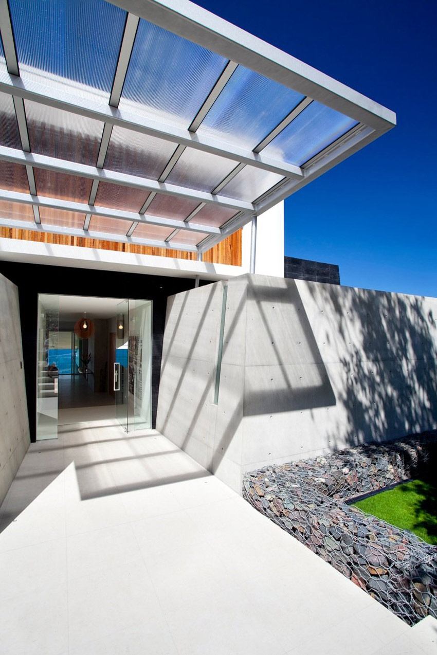 Glass Door, Entrance, Exposed Concrete, Coolum Bays Beach House in Queensland, Australia