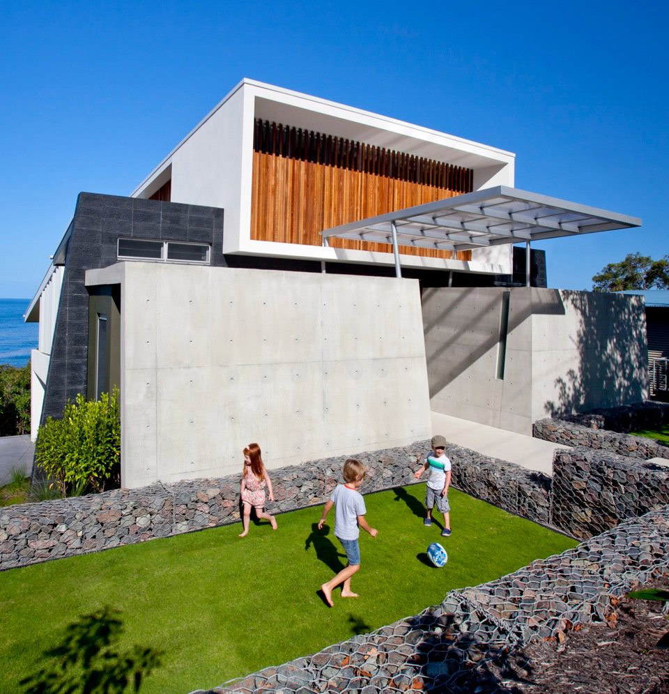 Lawn, Rock Walls, Coolum Bays Beach House in Queensland, Australia