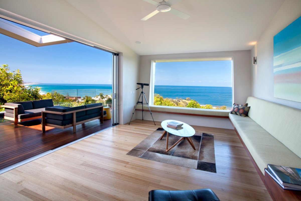 Living Space, Ocean Views, Coolum Bays Beach House in Queensland, Australia