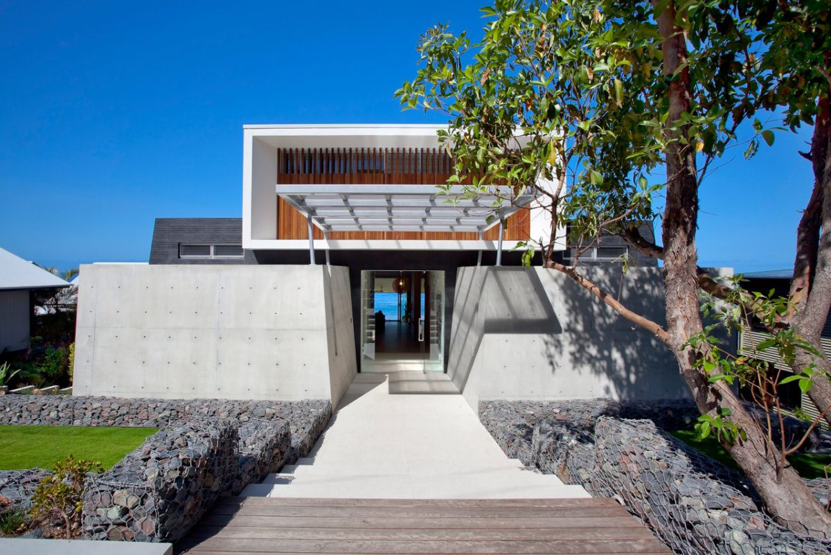 Steps, Entrance, Exposed Concrete, Coolum Bays Beach House in Queensland, Australia