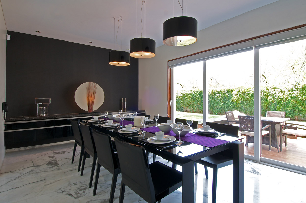 Black Dining Table, Lighting, Art, Dinesh Mill Bungalow in Baroda, India by Atelier dnD
