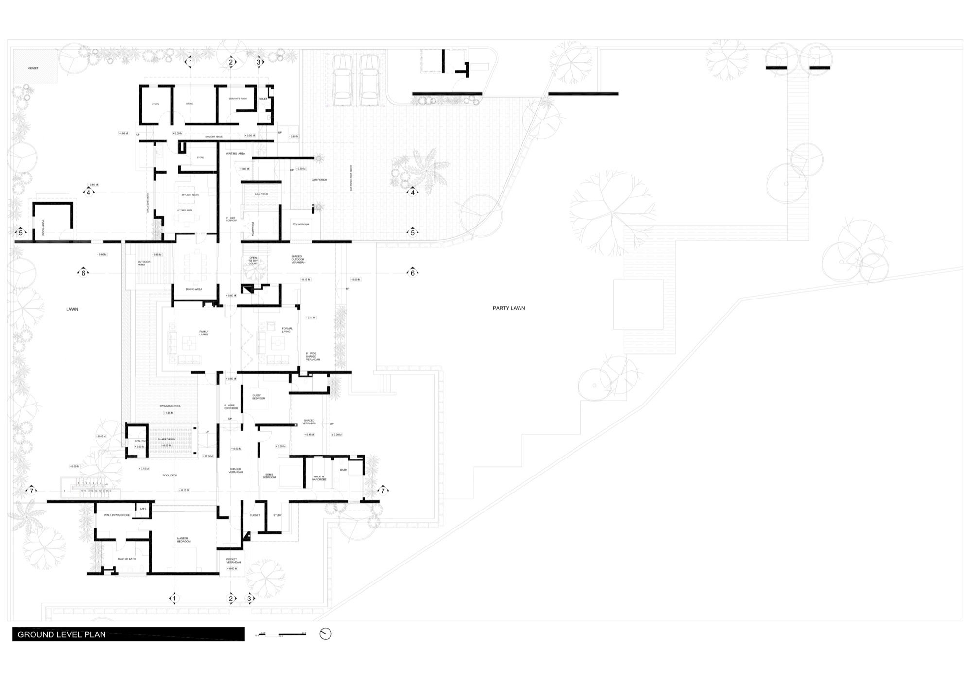 Ground Level Floor Plan, Dinesh Mill Bungalow in Baroda, India by Atelier dnD