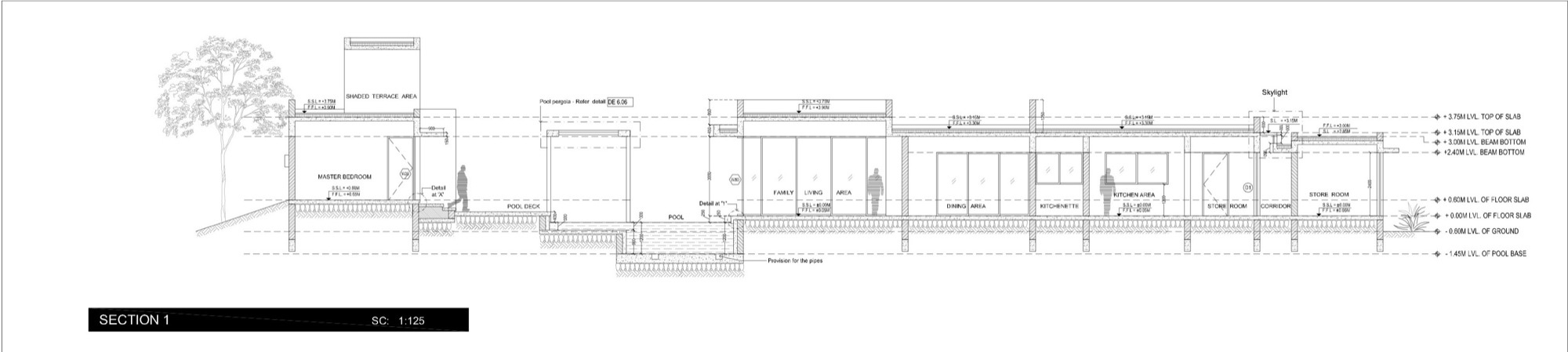 Section, Dinesh Mill Bungalow in Baroda, India by Atelier dnD