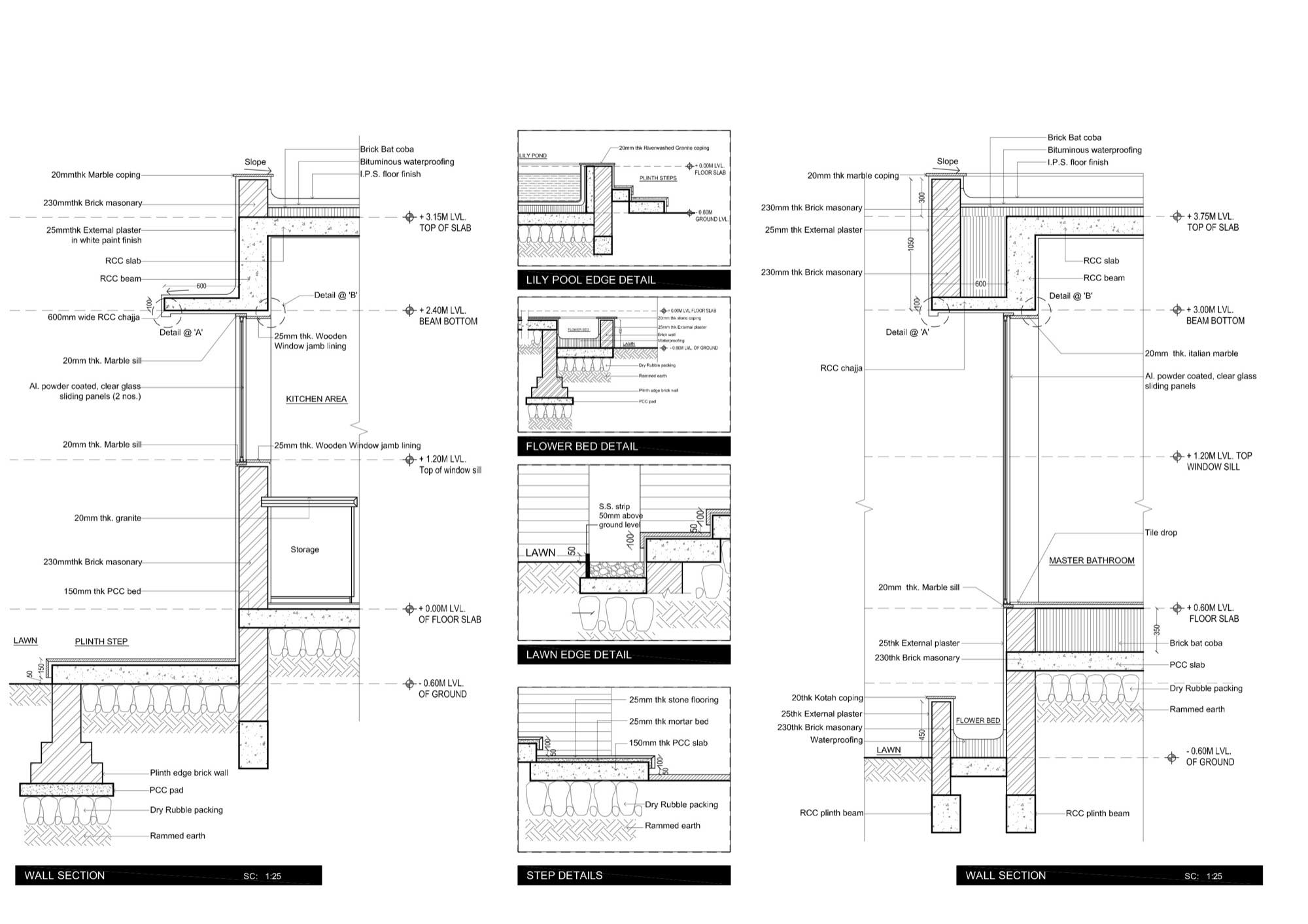 Bathroom section drawing - Wall Section Step Deatils Dinesh Mill Bungalow In Baroda India By Atelier Dnd