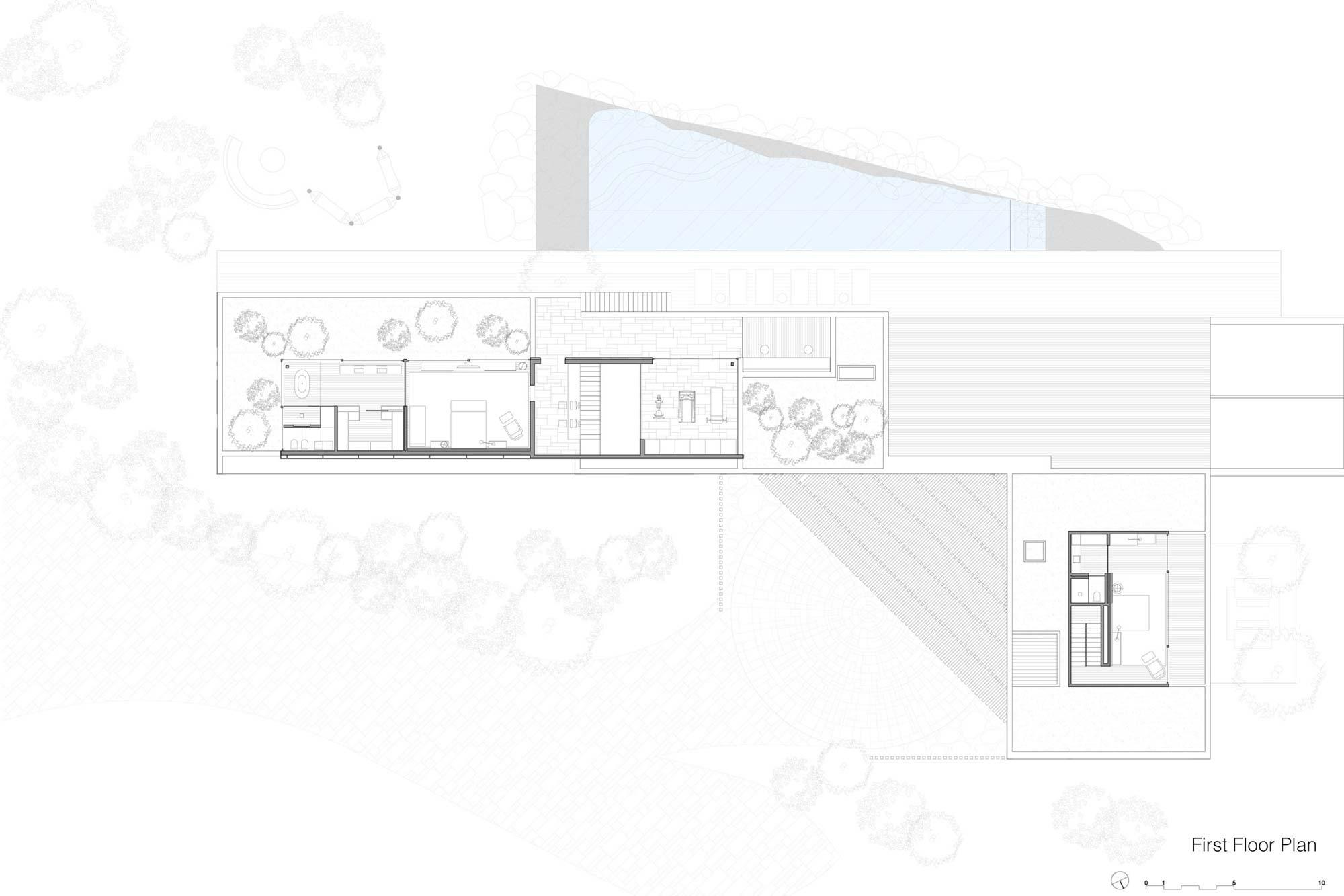 First Floor Plan, Casa Itu in São Paulo, Brazil by Studio Arthur Casas