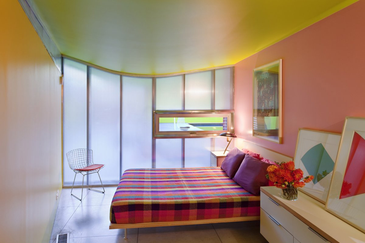 Bedroom, Colorful Summer Retreat in New York by Stamberg Aferiat + Associates