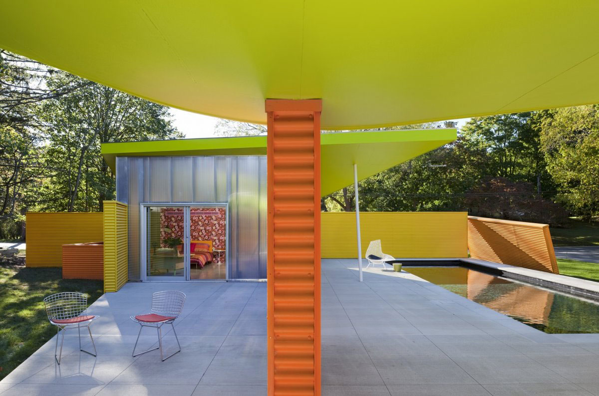 Outdoor Pool, Terrace, Colorful Summer Retreat in New York by Stamberg Aferiat + Associates