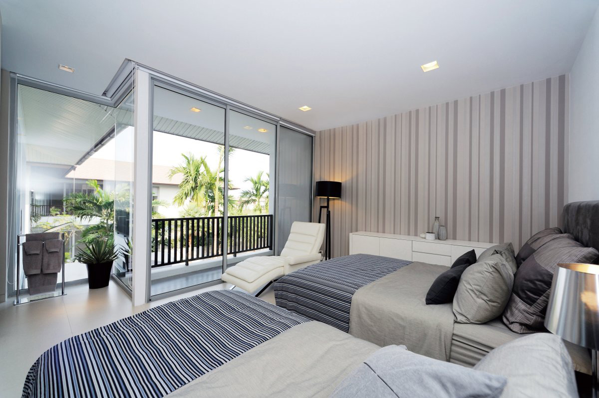 Bedroom, Balcony, Glass Walls, Baan Citta in Bangkok, Thailand by THE XSS