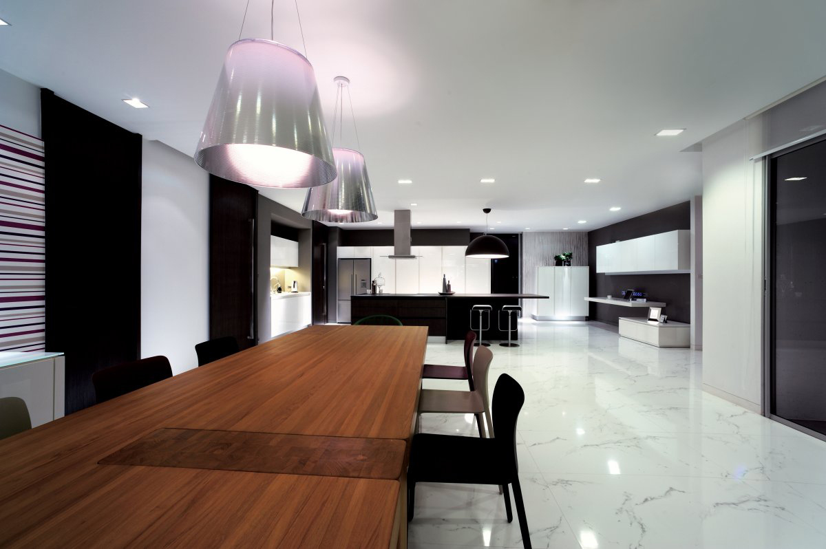 Kitchen, Dining Table, Lighting, Baan Citta in Bangkok, Thailand by THE XSS