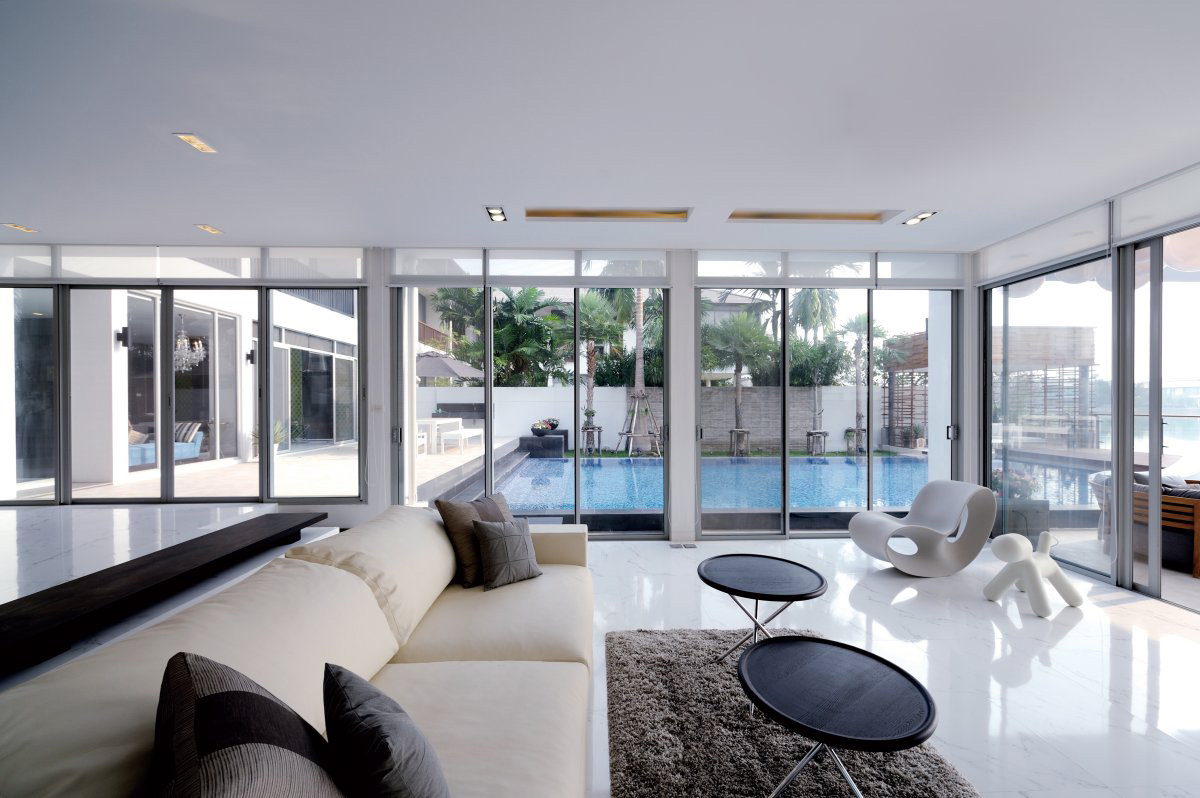 Sofa, Rug, Living Room, Pool View, Baan Citta in Bangkok, Thailand by THE XSS
