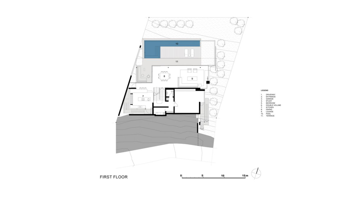 First Floor Plan, Contemporary 3-Level Home in Cape Town, South Africa