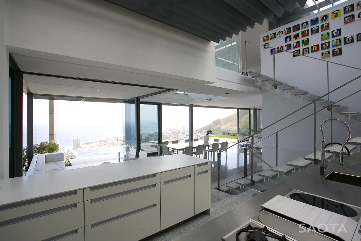 Kitchen, Stairs, Contemporary 3-Level Home in Cape Town, South Africa