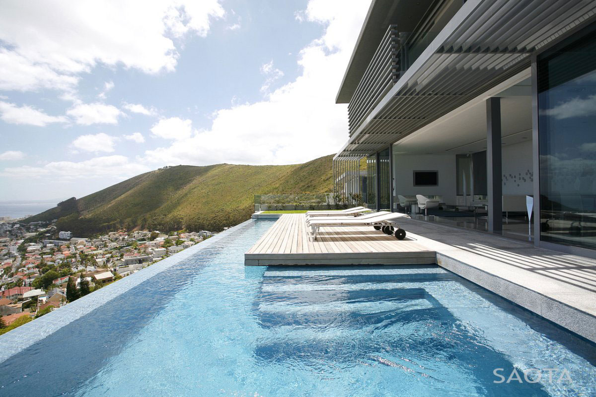 Views, Infinity Pool, Terrace, Contemporary 3-Level Home in Cape Town, South Africa