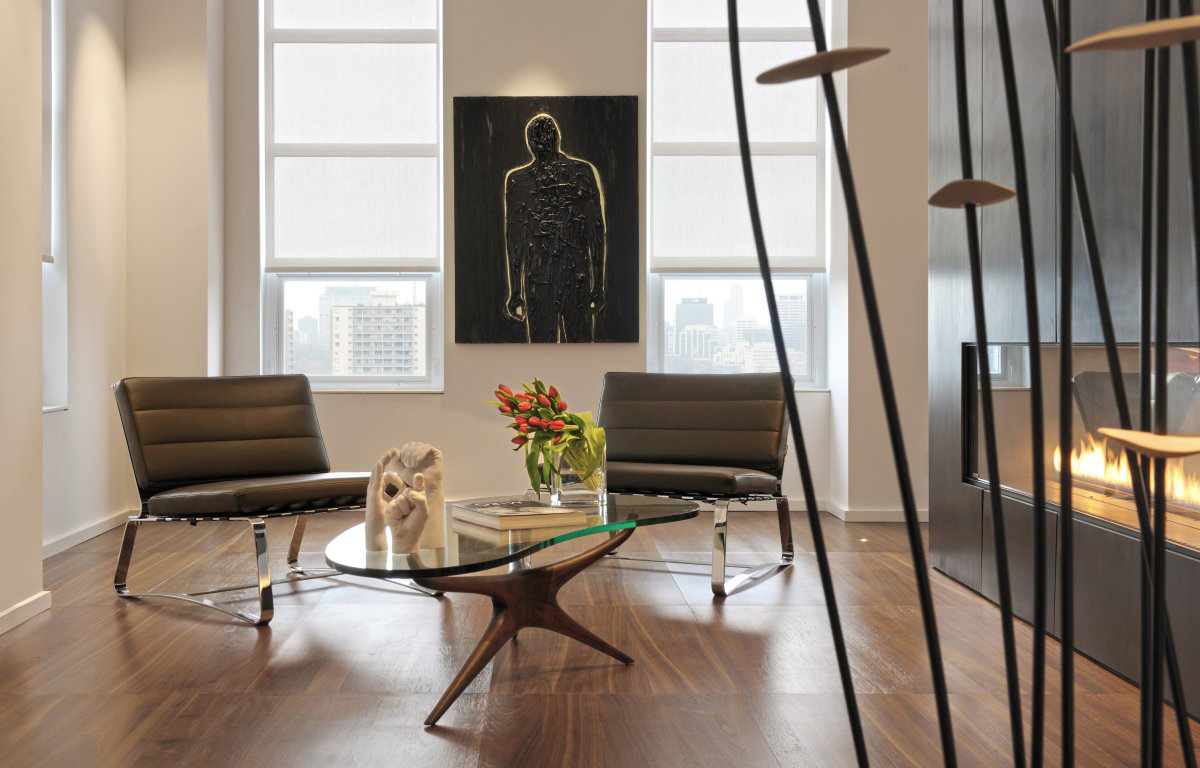 Fireplace, Table, Art, Chairs, Yorkville Penthouse II in Toronto, Canada by Cecconi Simone