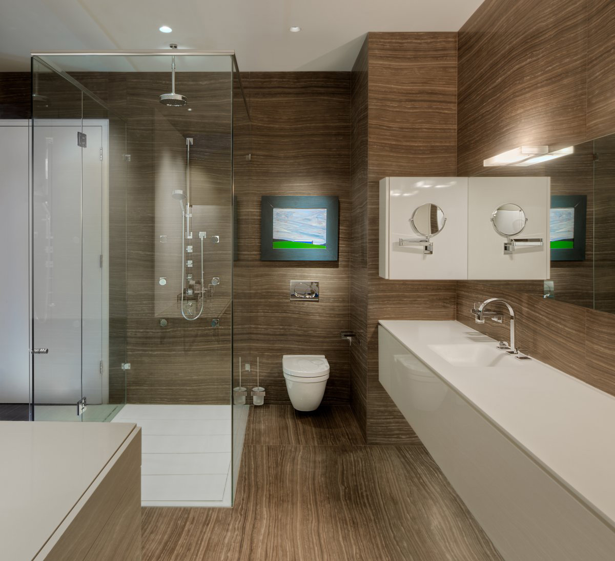 Glass Shower, Bathroom, Yorkville Penthouse II in Toronto, Canada by Cecconi Simone
