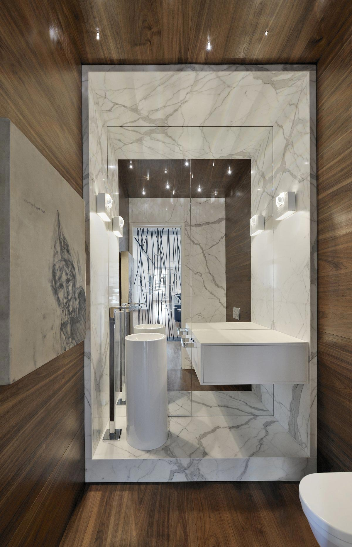 Large Mirror, Modern Sink, Bathroom, Yorkville Penthouse II in Toronto, Canada by Cecconi Simone