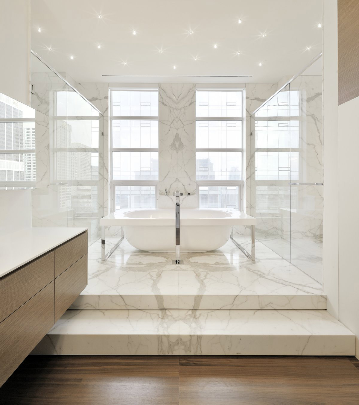 Marble Tiles, Lighting, Bath, Yorkville Penthouse II in Toronto, Canada by Cecconi Simone
