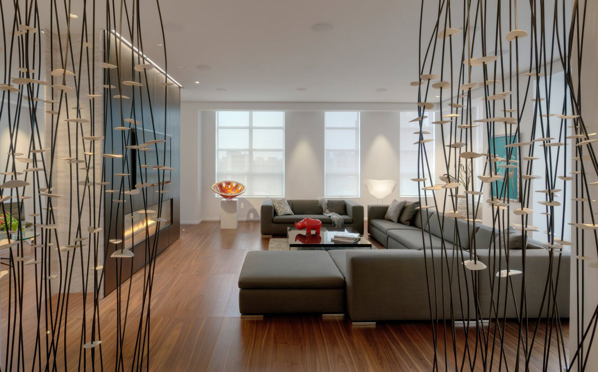 Sofa, Modern Fireplace, Art, Yorkville Penthouse II in Toronto, Canada by Cecconi Simone